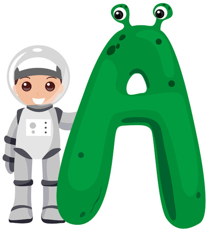 cosmonaut: Alphabet Kids (Astronaut) with Clipping Path