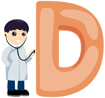stethoscope boy: Alphabet Kids (Doctor) with Clipping Path