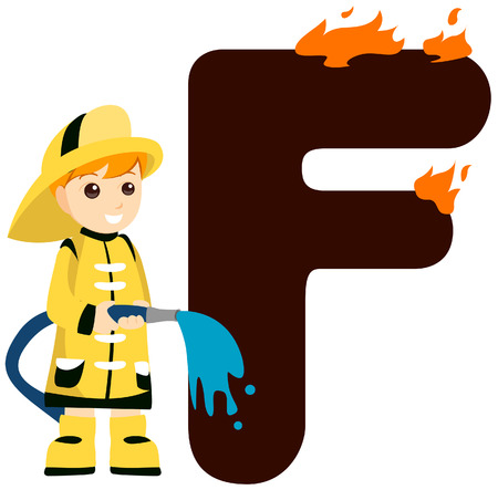 Alphabet Kids (Fireman) with Clipping Path  Illustration