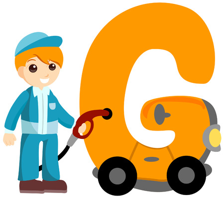 Alphabet Kids (Gas Attendant) with Clipping Path  Illustration