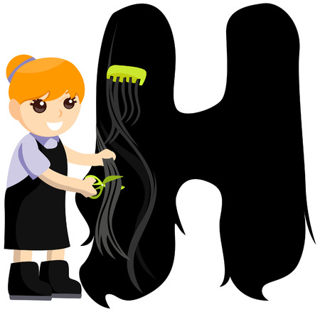 Alphabet Kids (Hairdresser) with Clipping Path  Vector