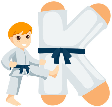 the master: Alphabet Kids (Karate Master) with Clipping Path