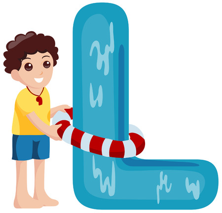 Alphabet Kids (Lifeguard) with Clipping Path  Vector