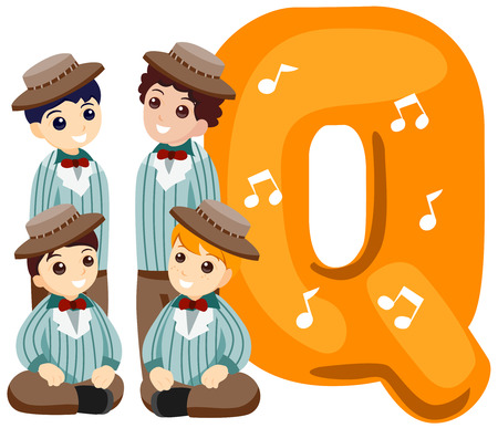 Alphabet Kids (Quartet) with Clipping Path  Vector