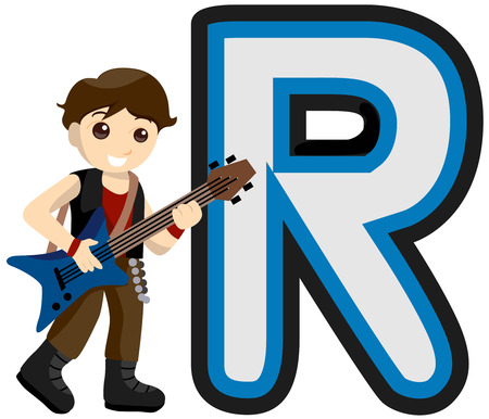 Alphabet Kids (Rock Star) with Clipping Path  Illustration