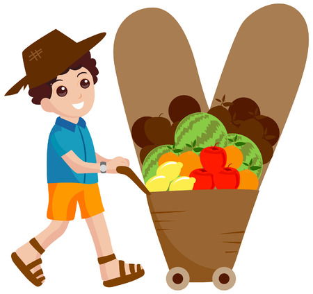 vendors: Alphabet Kids (Vendor) with Clipping Path  Illustration