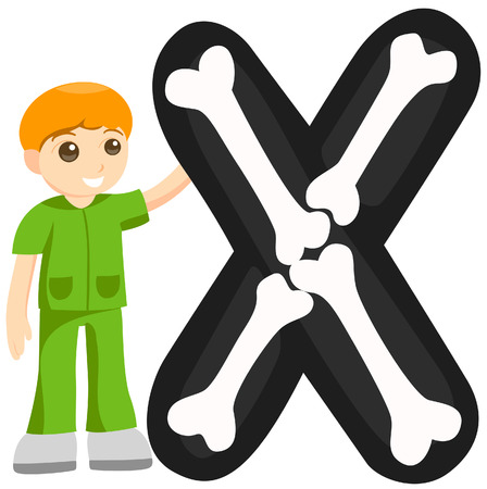 scrub: Alphabet Kids (XRay Technician) with Clipping Path