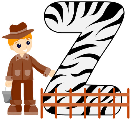 Alphabet Kids (Zoo Keeper) with Clipping Path  Vector