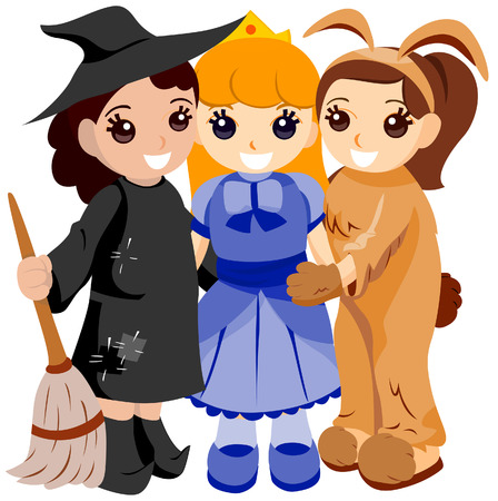 Girls in Halloween Costumes with Clipping Path