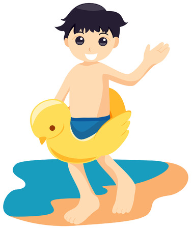 illustrati: Boy ath the Beach with Clipping Path