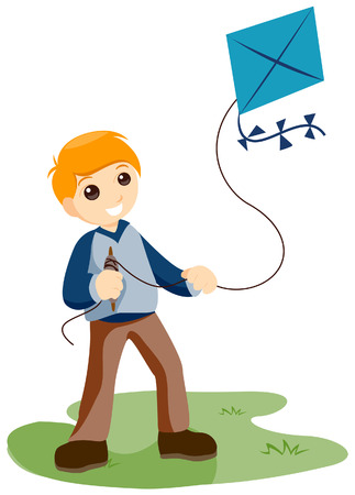 flying kite: Boy flying a Kite with Clipping Path