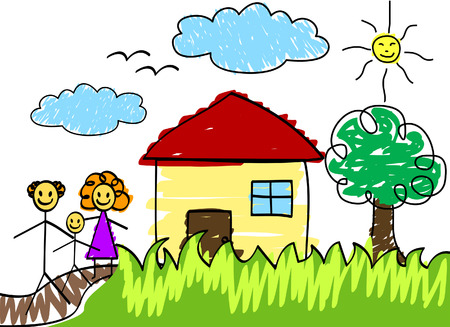 homes: Family Drawing with Clipping Path