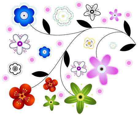 Abstract Floral Vines with Clipping Path Vector