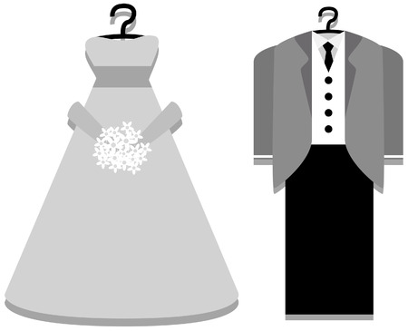 Bridal Gown and Tuxedo with Clipping Path