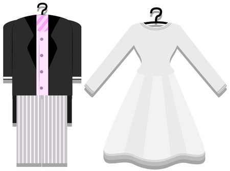 bridal gown: Bridal Gown and Tuxedo with Clipping Path