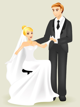 newlyweds: Bride and Groom with Clipping Path