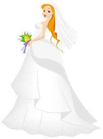 Bride Illustration with Clipping Path Vector