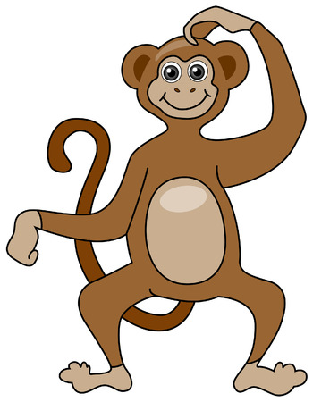 Monkey Illustration with Clipping Path Stock Vector - 3500275