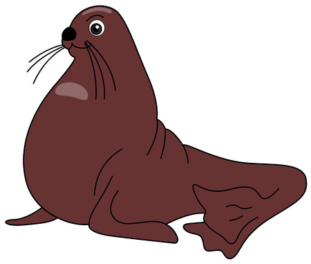 Sea Lion Illustration with Clipping Path Vector