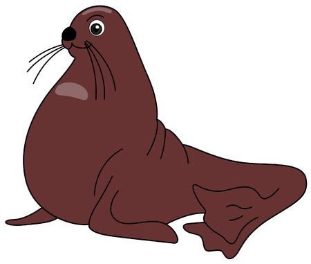 sea lion: Sea Lion Illustration with Clipping Path Illustration