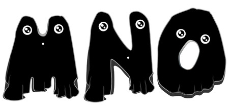 Black Ghost Alphabet with Clipping Path Vector