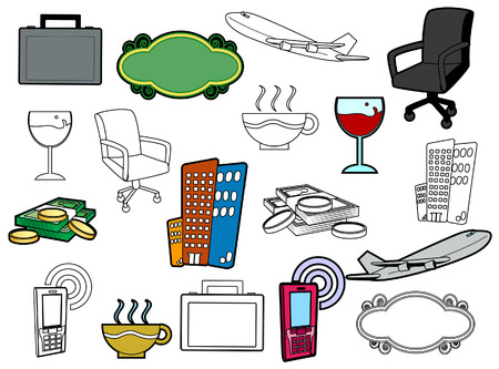 Business Icons with Clipping Path Vector