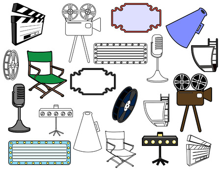 Entertainment Icons with Clipping Path Vector