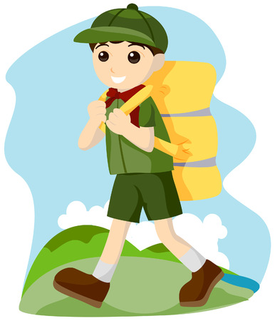 people hiking: Boy Camping