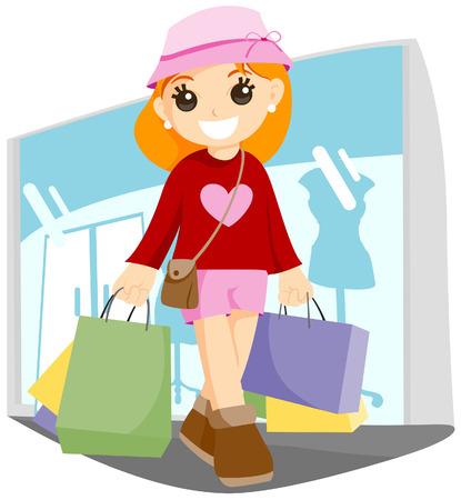 Jonge shopper Vector Illustratie