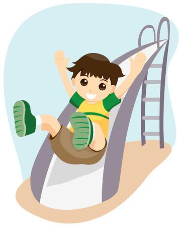 kid vector: Chico de deslizamiento