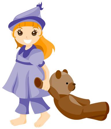 pajama: Girl holding her Teddy Bear