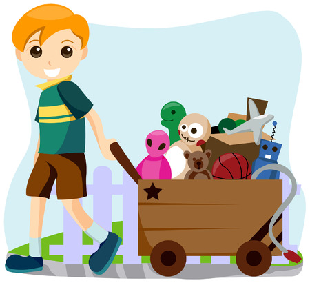 Boy with a Cart of Toys Illustration