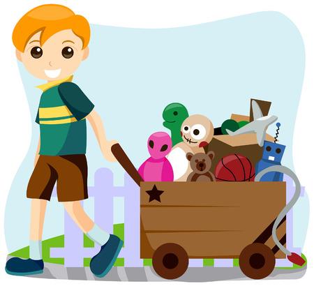 pull toy: Chico con un carro de los juguetes
