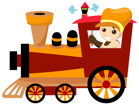 Boy with Toy Train Illustration