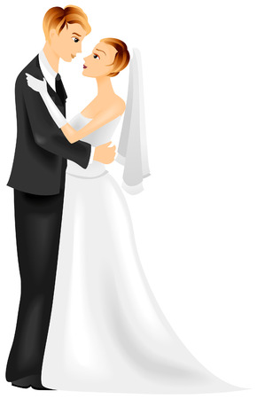 Bride and Groom with Clipping Path Stock Vector - 3555592