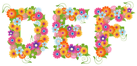 Floral Font with Clipping Path Stock Vector - 3555612