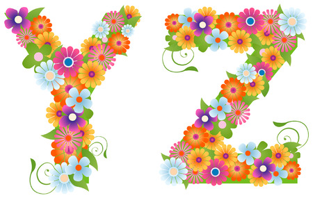 Floral Font with Clipping Path Vector