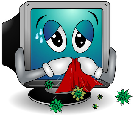 virus informatico: Ordenador con el virus de Aseguramiento Ruta Vectores