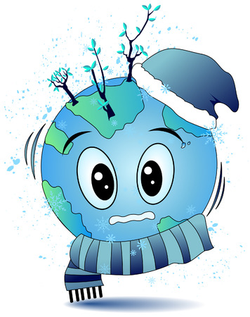Cold Earth with Clipping Path Stock Vector - 3590074