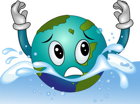 drowning: Drowning Earth with Clipping Path Illustration