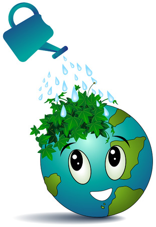 Watering Earth with Clipping Path Stock Vector - 3590072