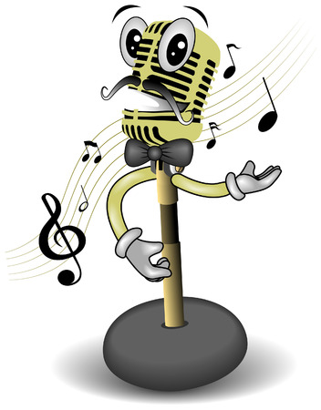 vocals: Singing Mic with Clipping Path Illustration