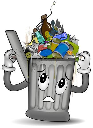 basura: Desbordante de basura puede con saturaci�n camino  Vectores