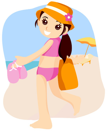 Child at the Beach with Clipping Path Vector