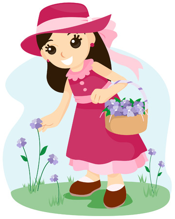 Girl Picking Flowers with Clipping Path