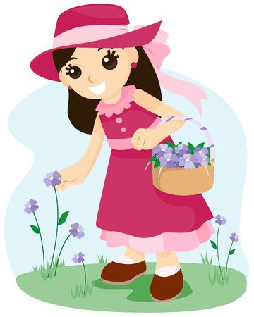 Meisje Picking Bloemen met Clipping Path