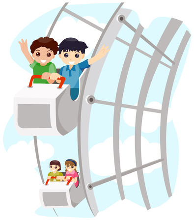 Children on Ferris Wheel with Clipping Path Illustration
