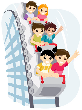 Children on Roller Coaster with Clipping Path Illustration