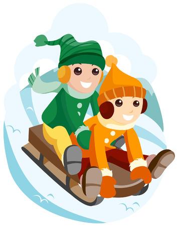 Los niños de trineo sobre la nieve con saturación camino