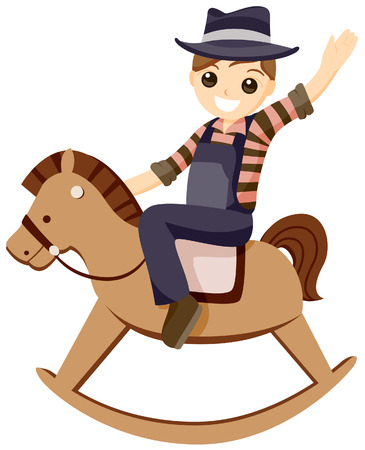 Boy on Rocking Horse with Clipping Path Illustration